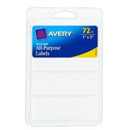 Avery Removable Labels, Rectangular, 1 x 3 Inch, White, Pack of 72 (06728)