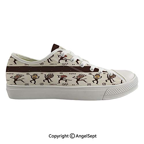 Durable Anti-Slip Sole Washable Canvas Shoes 16.92inch Ethnic Dancing People Wearing African Masks Primordial Early Times Art Figures,Brown Beige Flexible and Soft Nice Gift (Best Shoes For Flat Footed Person)