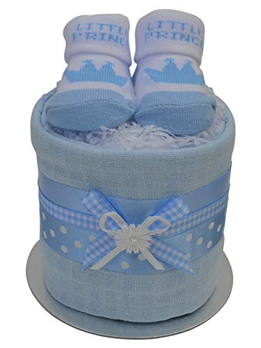 Lovely Blue Bootie Socks Mini New Baby Boys Nappy Cake Baby Shower Gift with Free UK Delivery!