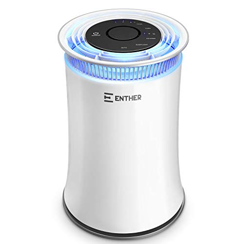 Enther Air Purifiers for Home with True HEPA Filter, Air Filter for Allergies Pets Smoke Smokers Mold Dust, Air Cleaner Odor Eliminator for Large Room with Air Quality Monitor, Optional Night Light - High Efficiency Particulate Air