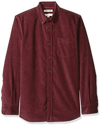 Goodthreads Men's Slim-Fit Long-Sleeve Corduroy Shirt, -burgundy, XX-Large