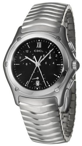 Ebel Classic Wave Watch - Ebel Classic Wave Chronograph Stainless Steel Mens Watch Black Dial 9251F41-5325