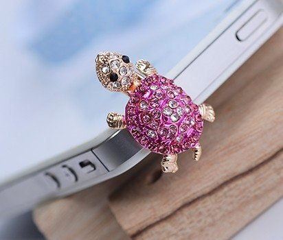 e-zone Dust Plug- Earphone Jack Accessories Crystal Lovely Pink Turtle/Cell Charms/Ear Jack for Iphone 4 4s / Ipad/Ipod Touch/Samsung Galaxy/LG Other 3.5mm Ear Jack
