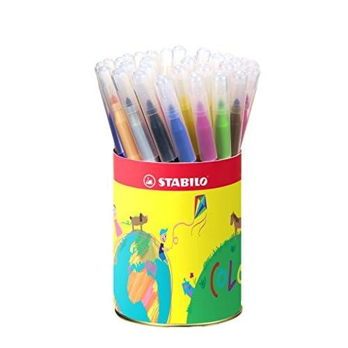 STABILO power - Pot métal de 36 feutres pointe moyenne - 12 couleurs assorties