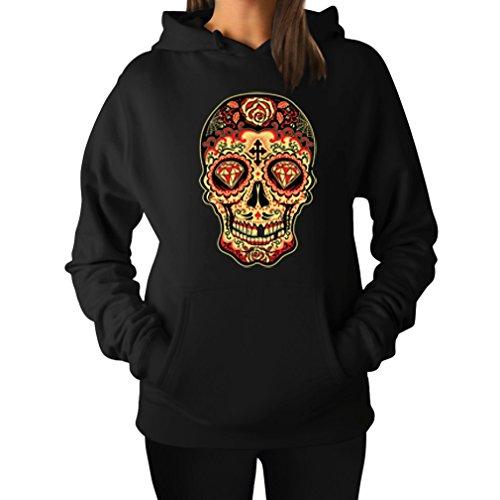 TeeStars Women's - Sugar Skull Diamond Hoodie X-Large Black