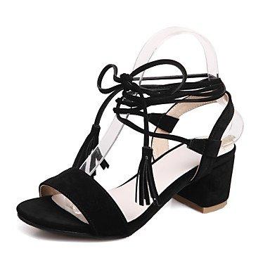 LvYuan Tacón Robusto-Gladiador Zapatos del club-Sandalias-Oficina y Trabajo Vestido Informal-Vellón-Negro Rojo Beige Red