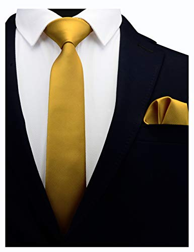 (GUSLESON Solid Old Gold Skinny Tie For Men Wedding Slim Necktie and Pocket Square Accessories Set (0754-18))