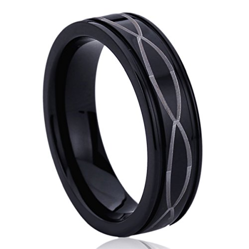 6MM Titanium Mens Womens Rings Laser Etched Infinity Black Ring Comfort Fit SZ: 4 -