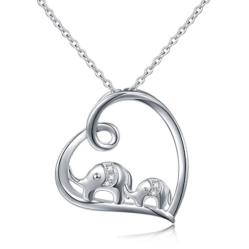 (S925 Sterling Silver Lucky Elephant Love Heart Necklace for Women, 18