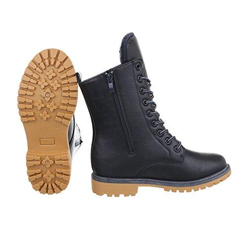 Ital-Design Schnürstiefeletten Damenschuhe Klassischer Stiefel Blockabsatz Warm Gefütterte Reißverschluss Stiefeletten Dunkelblau