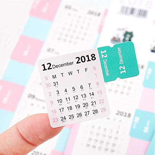 2019 Calendar Stickers Small Monthly Calendar for Planner/Appointment/Agenda/Journal/Bullet Self Adhesive Tabs, 15-Month from October 2018 to December 2019, 8 PCS(60 Tabs)