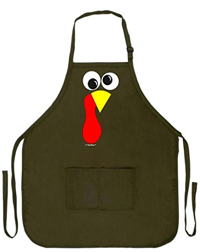 Thanksgiving Apron Turkey Face Gobble Funny Kitchen Apron Cooking Baking Two Pocket Apron Military Olive Green