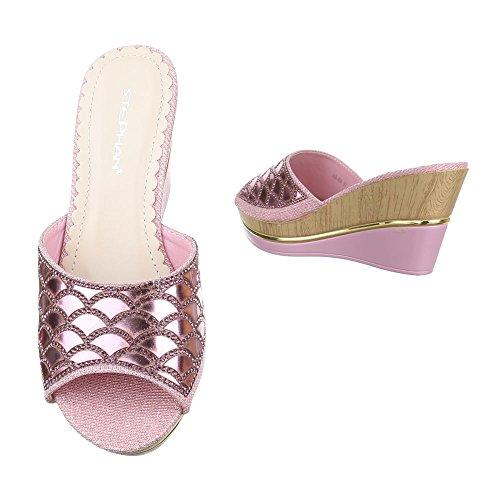 Ital-Design Pantoletten Damenschuhe Jazz & Modern Keilabsatz/Wedge Keilabsatz Sandalen/Sandaletten Rosa