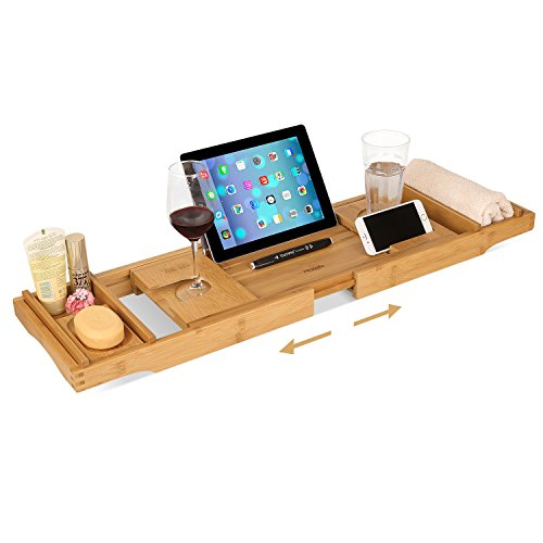 HOMFA Bamboo Bathtub Tray Bath Table Adjustable Caddy Tray with Extending Sides, Cellphone Tray and Wineglass (Bamboo Wine Table)