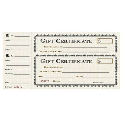 (Adams Gift Certificate Book, Single Paper, 3.25 x 11 Inches, Cream, 25 Numbered Certificates (GFTBK1) (2 Pack))