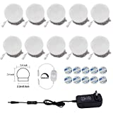 AIBOO Hollywood Super Star Style Makeup Mirror Vanity LED Light Bulbs Kit for Dressing Table Dimmable & Plug in, Linkable and Flexible Strip, Mirror Not Included (10 Bulbs Warm White)