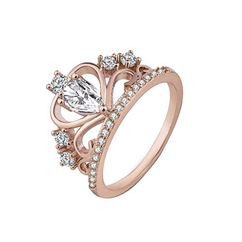 - Tantisy ♣↭♣ Women's Fashion Simple Platinum Boutique Ring Fashion Crown Zircon Ring Gifts ✦‿✦