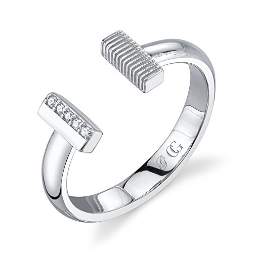 CHARLIZE GADBOIS 925 Sterling Silver Diamond Bar Ring for Women (0.025 cttw, I1-I2 Clarity), Size 8 by Gadbois Jewelry