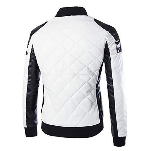 Moto Taglie Da Moda Giacca Motociclista Cappotto Lunga Casual Slim Abiti Locomotiva Uomo Collare Vintage Nero Pelle Stand In Manica Fit Comode Schwarz aTa0wqf