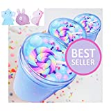 Blue Slime Birthday Fluffy Putty,Charms Cotton Candy Cake Scented Non-Sticky ,DIY Stuff Stress Relief Toys 5oz for Girls and Boys(3pcs Random moj moj Toys Include)