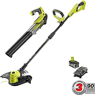 "Ryobi 18V Li-Ion Cordless 13"" String Trimmer/Edger and Jet Fan Blower Combo Kit with Battery and Charger"