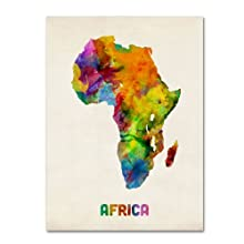 Africa Watercolor Map by Michael Tompsett, 14x19-Inch Canvas Wall Art