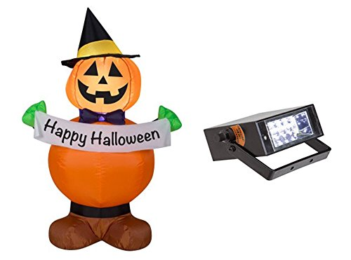 Halloween Inflatable Airblown Jack O Lantern Pumpkin Witch 3.5' Tall & Bonus Mini Strobe Light (Halloween Watch Online)