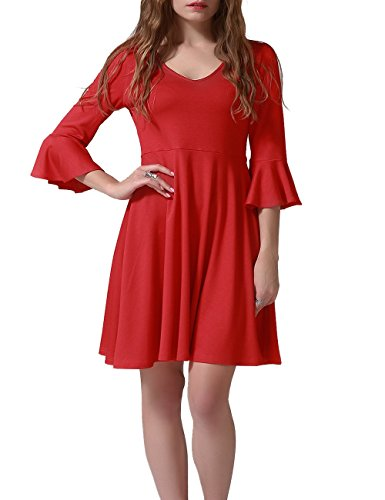 Talever Women's V-Neck A Line Cocktail Flowy Party Tank Flared Maxi Casual Dress with Bell Sleeve Red(Knee length (Bell Skirt)