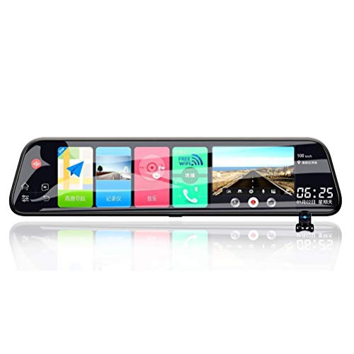WYXR Mirror Dash Cam, 1080p Front Camera with12 IPS Touchscreen and Water-Resistant Rear Backup Camera, Featuring Parking Mode, G-Sensor, and Loop Recording