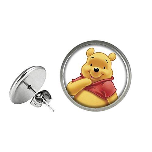 Winnie the Pooh Post Stud Silvertone Premium Quality Earrings TV Comics Movies -