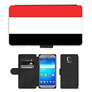 GoGoMobile Flip PU Leather Wallet Case with Credit Card Slots // V00001193 yemen National Country Flag // Samsung Galaxy S5 S V SV i9600 (Not Fits S5 ACTIVE)