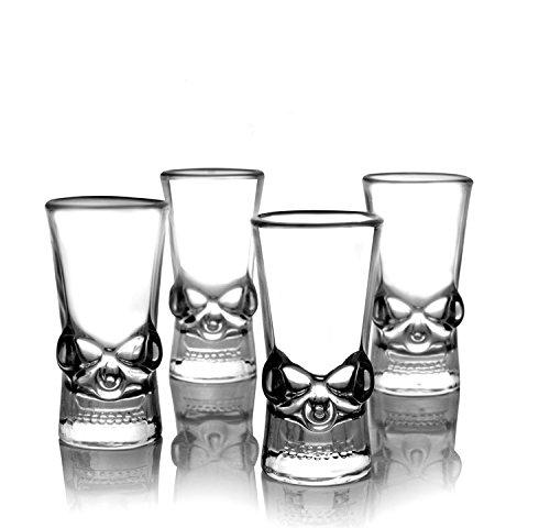 EASYTAR Premium Skull Classic Shot Glasses Skeleton Knight Design,Set of 4, 1.5OZ(50ML),Clear
