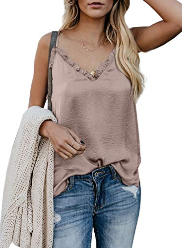 Arainlo Womens Cami Tank Summer Sleeveless V Neck Silk Ruffle Camisole Loose Fit Casual Shirt Flowy Spaghetti Strap Vest Top Apricot XL