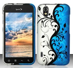- LG Marquee LS855 / Optimus Black P970 (Boost/Sprint) Blue/Silver Vines Design Snap On Hard Case Protector Cover + Free Neck Strap + Free Wrist Band