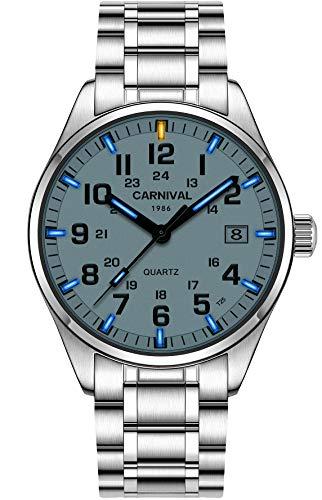 - PASOY Men's Tritium Luminous Watch Blue Light Waterproof Silver Stainless Steel Quartz Wrist Watches T25 (White dial/Blue Light)