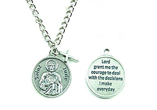 PlanetZia Creations St. Jude Patron Saint of Hope and Impossible Causes Round Medal Necklace TVT-JUR-1