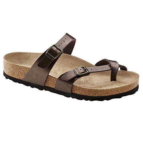 FISACE Womens Cross Toe Flat Sandals Double Buckle Strap Summer Beach Sandal Shoes Brown