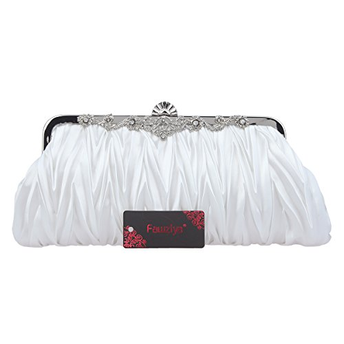 Party And Clutch Satin Fawziya Clutches Women Pleated Evening For White Wedding For Purses pRxgO1q