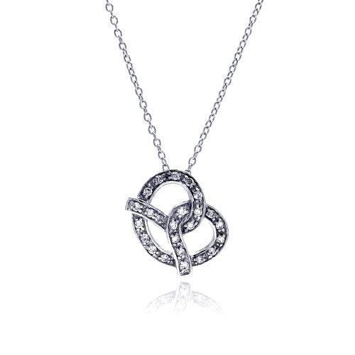 Double Accent Sterling Silver CZ Stone Set Pretzel Pendant Necklace