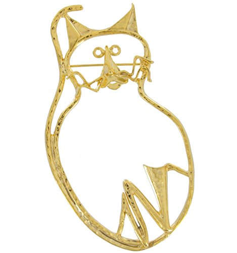 Big Gold Tone Cat Outline Large Pin Brooch Scarf Clips Corsage Jewelry for (Outline Brooch Pin)