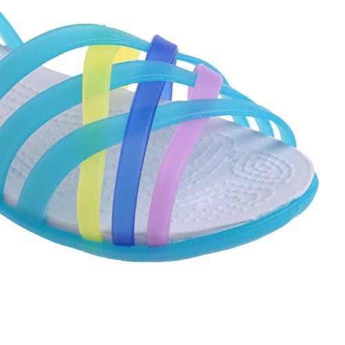 Top-Sell Summer Flat Pescado Boca Sandalias Antideslizante Arco Iris Mixto Color Jalea Zapatos Mujer Blue