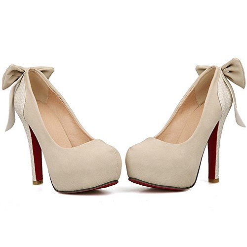 LongFengMa Women High Heel Pumps Platform Party Wedding Shoes Suede with Bow Beige G7c7p6OCk