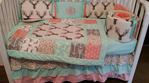 Woodland 1 to 4 Piece baby girl nursery crib bedding Quilt, bumper, and bed skirt, Buck, deer, fawn, head silhouette, Arrow, Teepee, Aztec Mint, Coral, Gray, Pink -
