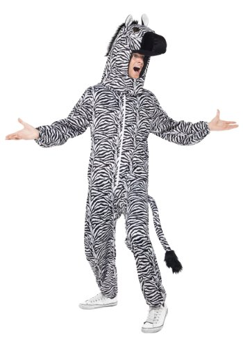 [Smiffy's Adult Unisex Zebra Costume, All in One and Hood, Party Animals, Serious Fun, One Size,] (Animal Halloween Costumes Men)