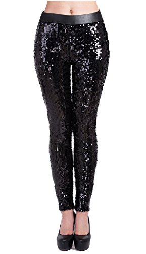 Lotsyle Womens Faux Leather Shiny Sequins Party Footless Leggings Pants