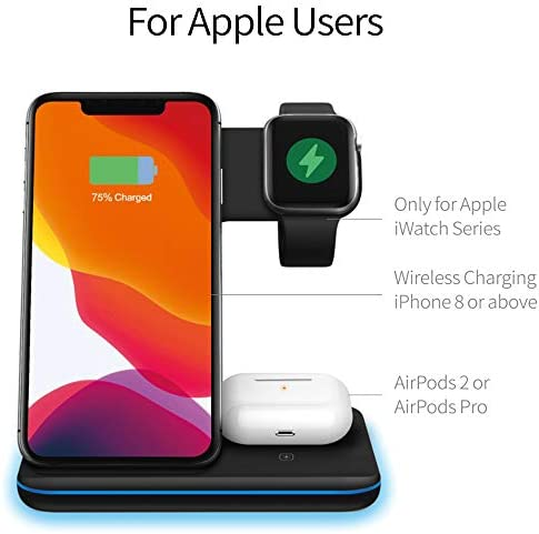 Any Warphone 3 in 1 Wireless Charging Stand for Latest Airpods iPhone and iWatch, Compatible for iPhone 11 Pro Max/X/XS Max/8 Apple Watch Charger 5/4/ 3/2 /1 Airpods 2/3 41BRVQCesyL