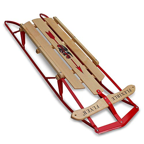 Flexible Flyer Metal Runner Sled. Steel & Wood Steering Snow Slider, 48