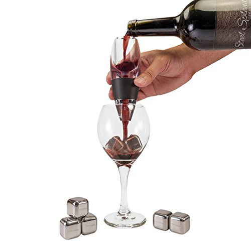 Steel Splendor Red Wine Aerator Pourer and Decanter Includes Base Enhances Flavors with Smoother Finish, Black