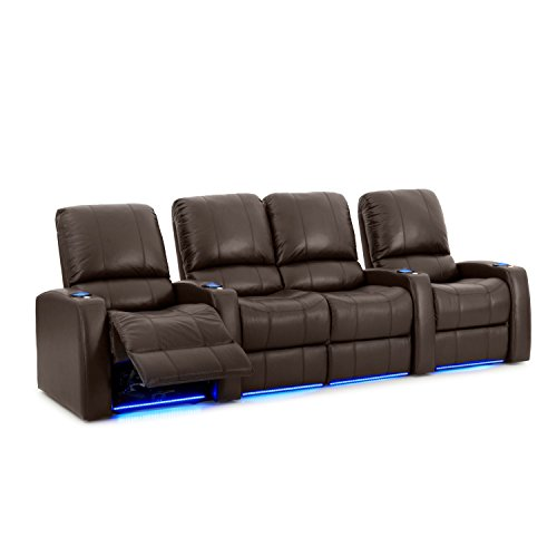 Octane Seating Blaze XL900 Home Theater Loungers - Brown Top-Grain Leather - Motorized Recline - USB Charger - Memory Foam - Straight Row of 4 with Middle Loveseat