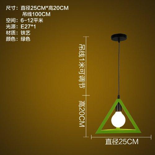 LuckyLibre Chambre Simple Ombre lumière Pendentif Bar Café Restaurant Cuisine Couloir d'éclairage lampe de plafond,Lustre (triangle vert) avec source de lumière LED